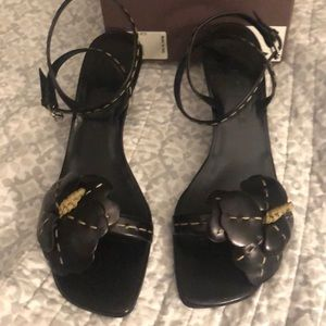 CELINE EUC FLORAL LEATHER WRAP ANKLE SANDALS